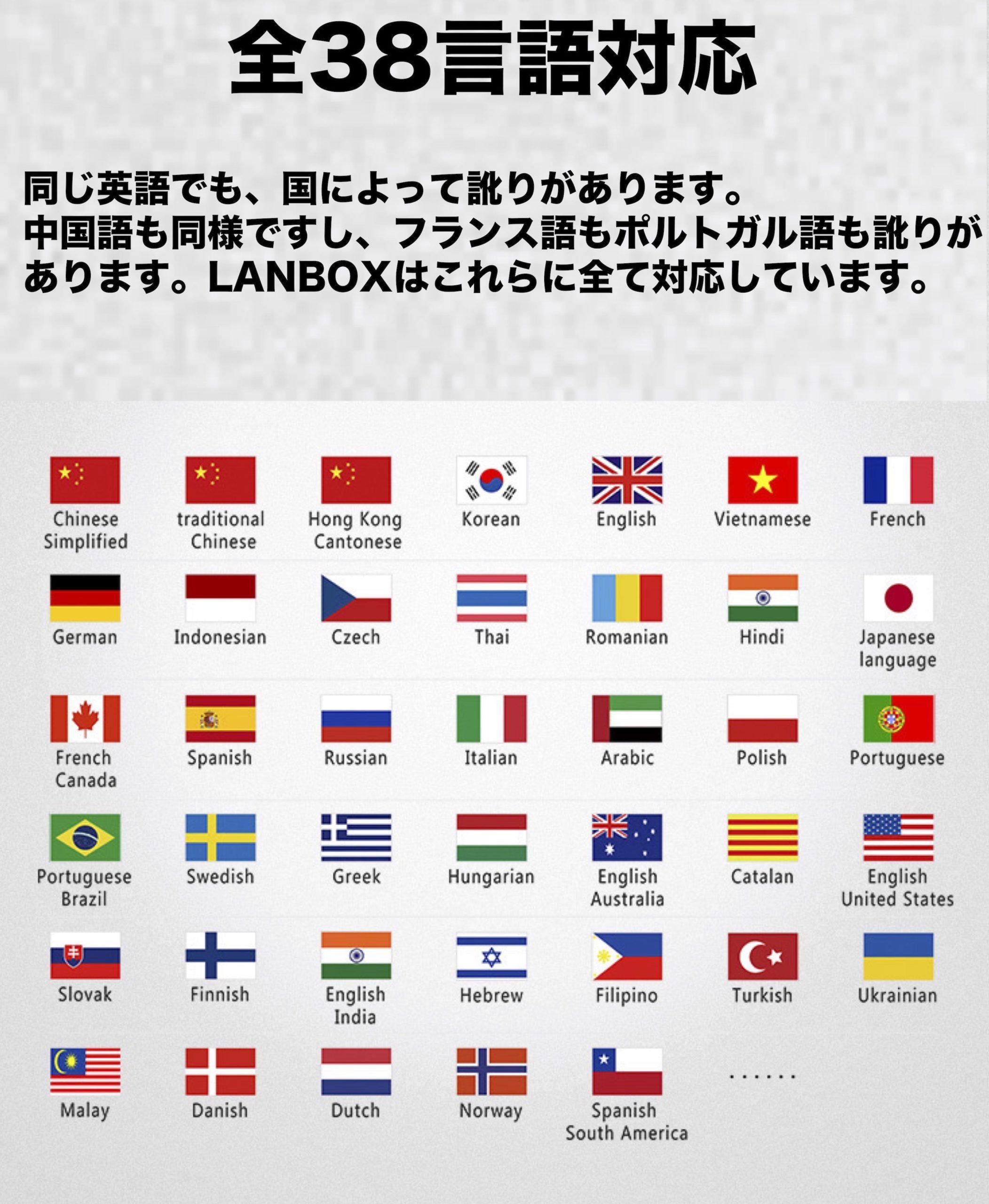 全38言語に対応した幅の広さ