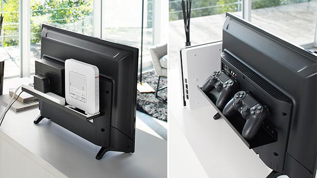 テレビの裏面に棚を取り付けでスペースの有効活用