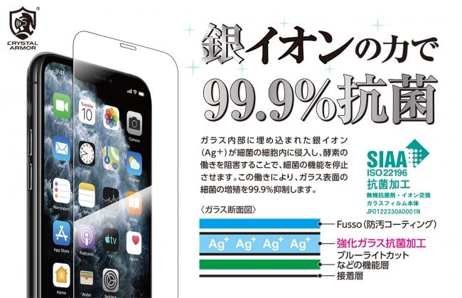 """抗菌""""SIAAマーク""""取得の「iPhone用抗菌強化ガラスフィルム」がクリスタルアーマーより発売"""