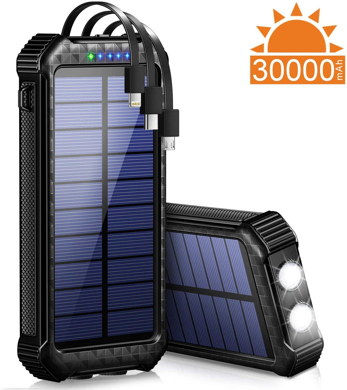 その9 ケーブル内蔵・LEDライト付きソーラーモバイルバッテリー!